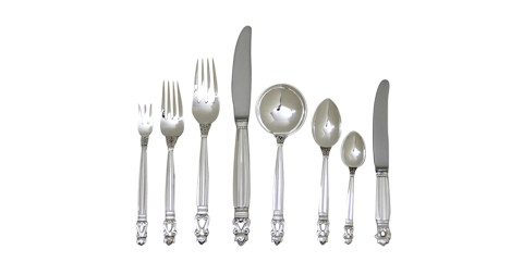 Georg Jensen Acorn flatware service for 12, offered by Drucker Antiques, Inc.