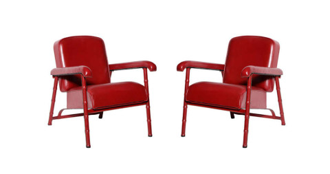 Jacques Adnet armchairs, ca. 1955, offered by Maison Gerard