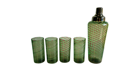 Glass decanter and four tumblers in the manner of Venini, 1950s, offered by COOCOOU27