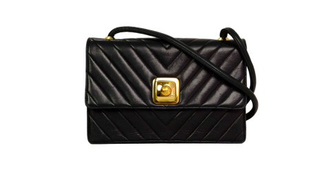 Chanel navy chevron-quilted lambskin flap bag GHW, 1990, offered by A Second Chance Couture