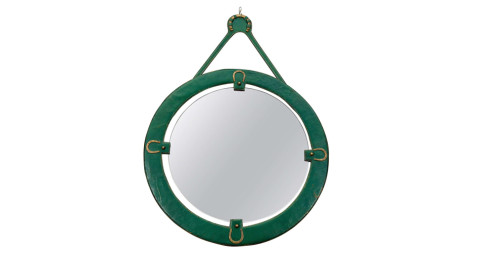 Jacques Adnet equestrian mirror, 1950s, offered by Pascal Boyer Gallery