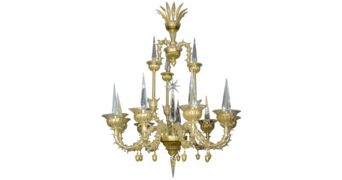 Pair of André Arbus chandeliers, 1950s, offered by Galerie Secula