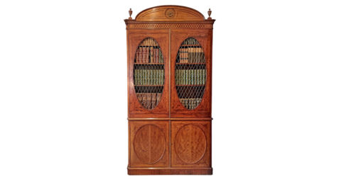 Two-part Hepplewhite bookcase cabinet, ca. 1785, offered by Gerald Bland
