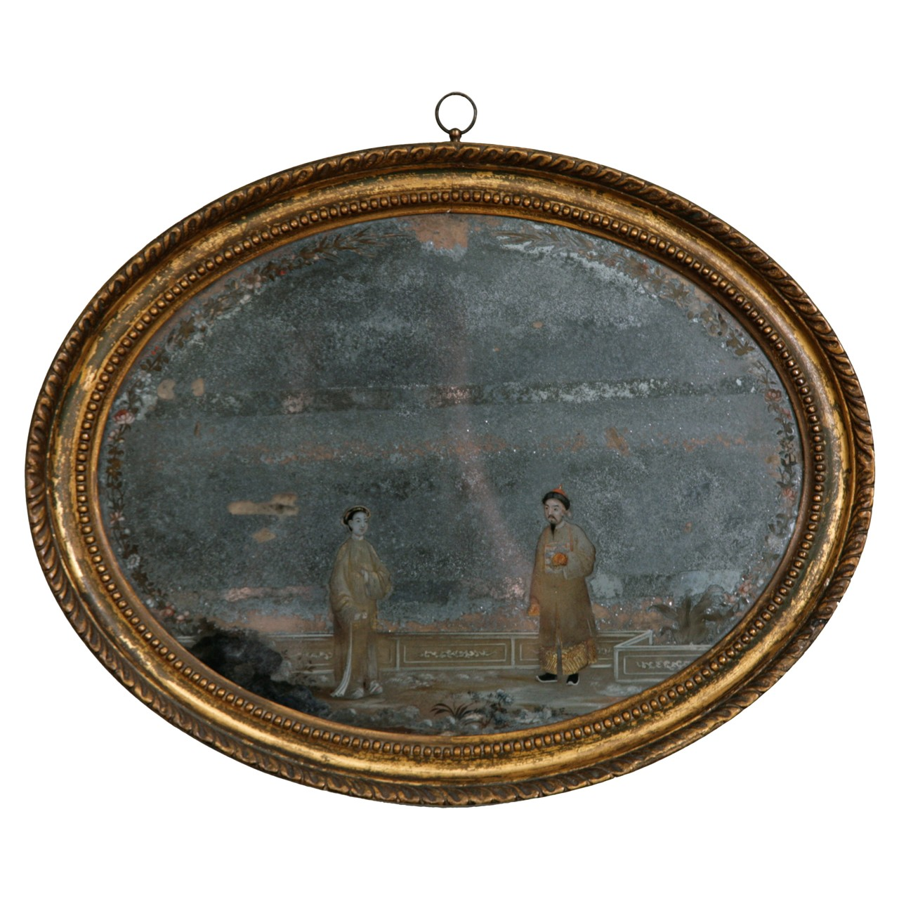 Oval Chinese Export mirror painting, 18th century, offered by Jamb Ltd.
