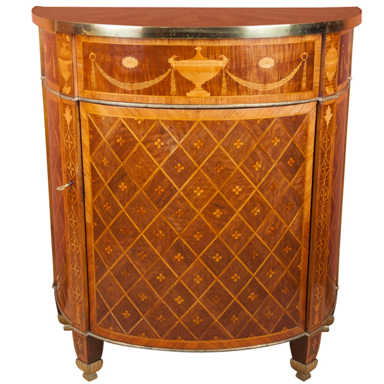George III demi-lune commode in the manner of John Linnell, ca. 1790, offered by John Bly