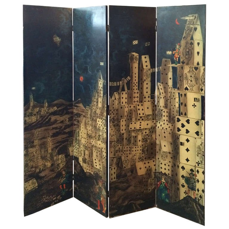 """Piero Fornasetti, """"City of Cards"""" Screen, offered by Kerson 20th Century Design"""