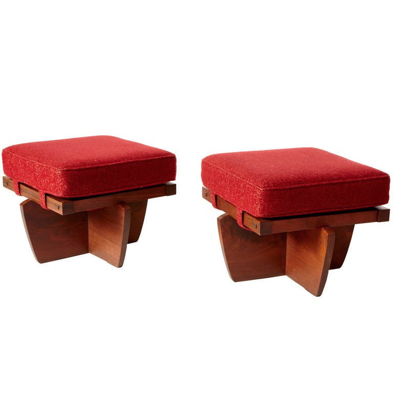 George Nakashima Greenrock ottomans, offered by 1950