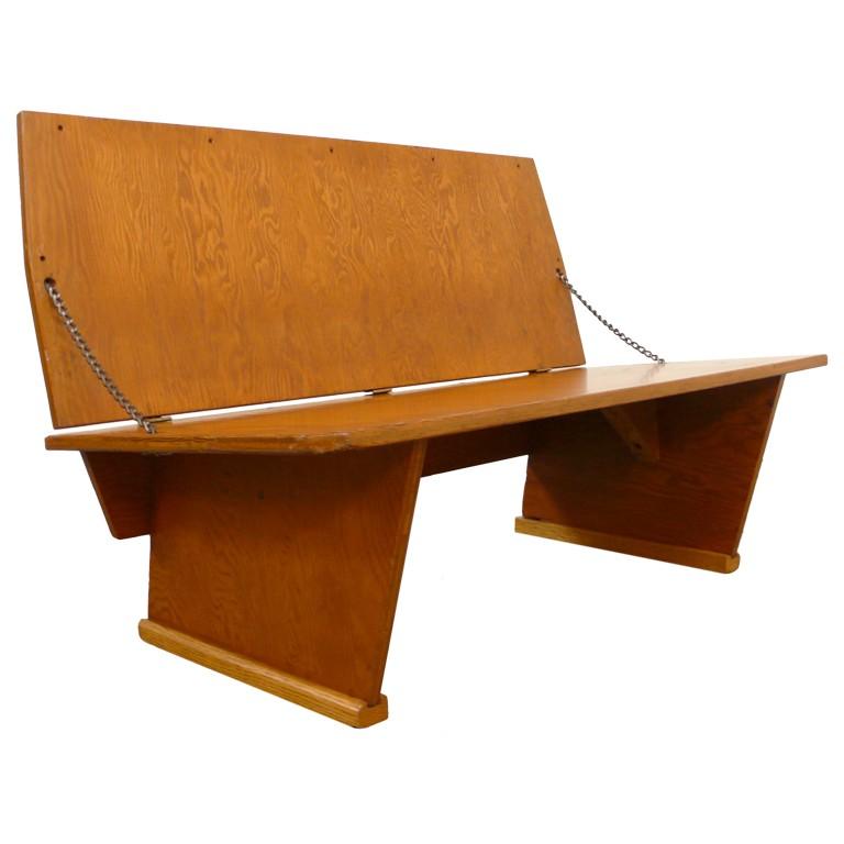 Frank Lloyd Wright bench, offered by Weinberg Modern
