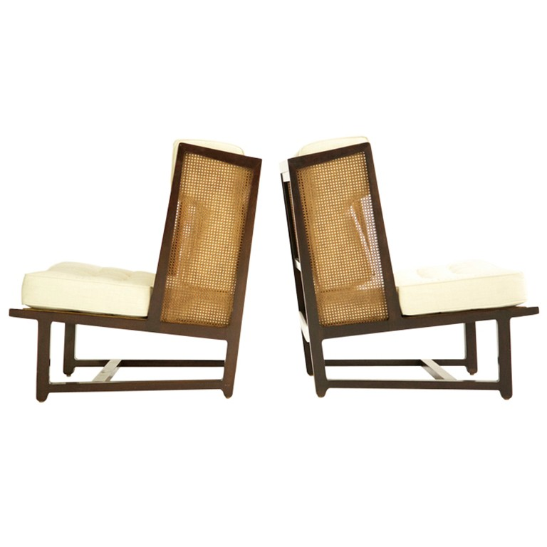 Pair of Dunbar wingback lounge chairs, offered by Converso