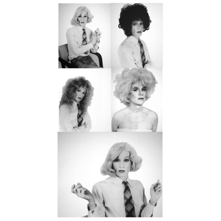 Five Screenprints of Andy Warhol in Drag, 1981, by Christopher Makos, offered by Montaperto