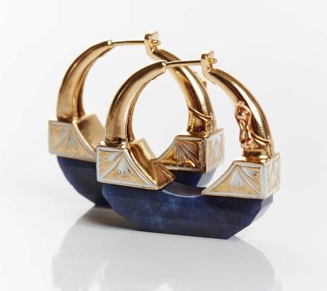 Sapphire and Enamel Hoop Earrings