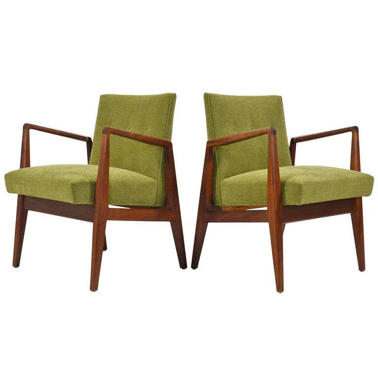 Pair of Walnut Armchairs by Jens Risom