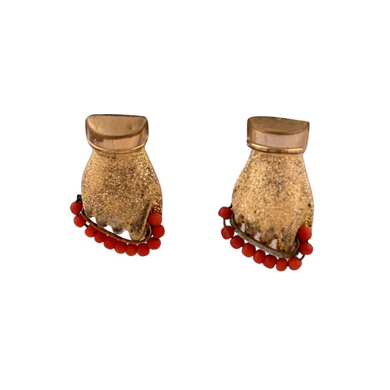 """Victorian Gold Filled and Coral """"Hand"""" Earrings"""