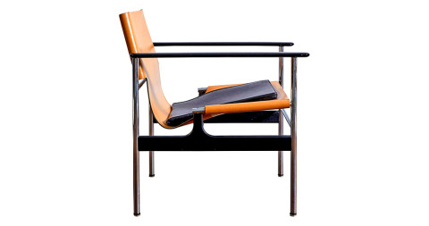 Charles Pollock for Knoll leather-sling armchair, 1960s, offered by ASH NYC