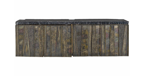 Paul Evans Sculptured Metal Wall Hung Cabinet, offered by The Exchange Int