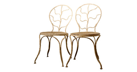 Pair of Alberto Giacometti wrought-iron side chairs for Jean-Michel Frank, 1935, offered by Connors Roth