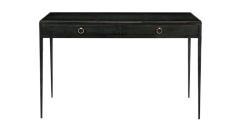 Jean-Michel Frank iron-and-leather desk, ca. 1935, offered by Mallett New York