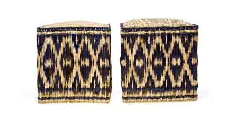 Pair of made-to-order wicker stools, contemporary