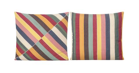 Pair of Yastik Shalimar multi-stripe square cushions by Rifat Özbek