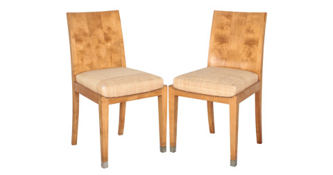 Pair of Jean-Michel Frank sycamore chairs, 1930s, offered by Pamplemousse