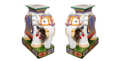 Pair of Asian-inspired ceramic elephant garden stools, 1960s, offered by Showplace Antique + Design Center