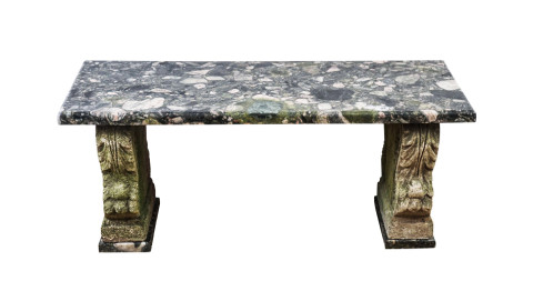 Marble-and-cast-stone garden bench, ca. 1920, offered by Gottlieb Gallery
