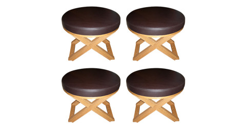 Four Jean-Michel Frank and Adolphe Chanaux stools, late 20th century, offered by Galerie Canavese