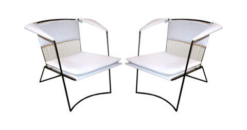 Pair of Joaquim Tenreiro white armchairs, 1950s, offered by Adesso
