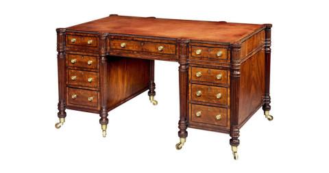 1. Regency pedestal desk, attributed to Gillows, ca. 1815