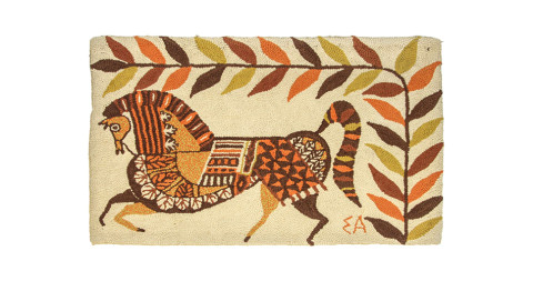 Hand-hooked rug, ca. 1960, offered by Reform Gallery