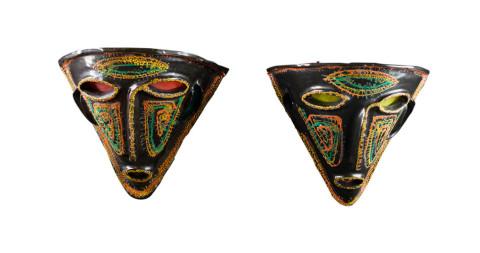Pair of Kimcherova ceramic mask sconces, 1960, offered by Kimcherova