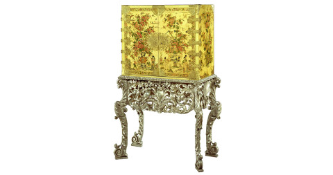 6. Charles II cream Japanned cabinet on silvered stand, ca. 1680