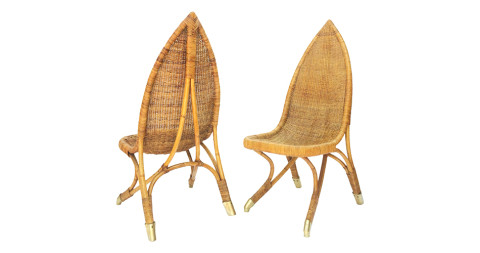 Pair of Francis Mair–inspired rattan-and-brass chairs, 1960s, offered by A La Mod Inc