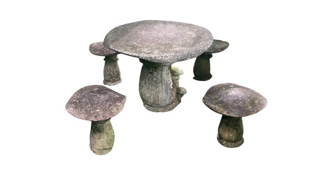 Cast-stone toadstool table with four stools, 1940s, offered by The Elemental Garden, LLC
