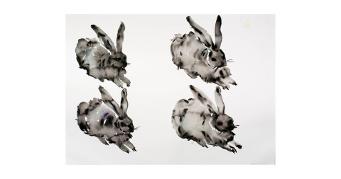 <i>Four Bunnies</i>, 2014, by Kim McCarty, offered by Morgan Lehman Gallery