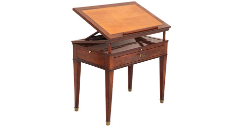 Continental mahogany architect's table, ca. 1820, offered by Cove Landing
