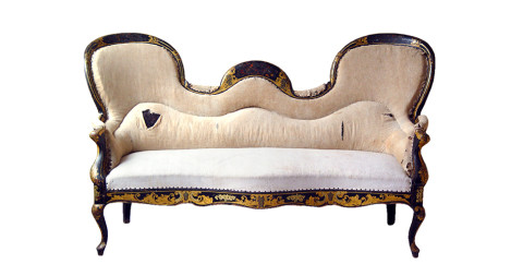 Napoleon III settee, ca. 1870,  offered by Objets Plus Inc.