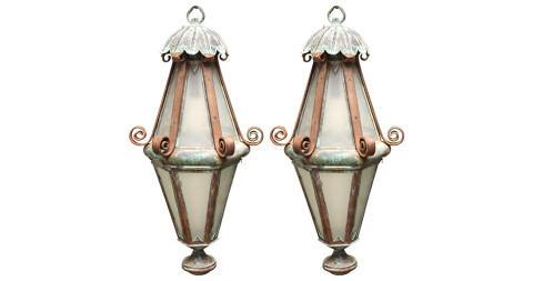 Pair of copper-and-iron lanterns, 1895, offered by Lee Stanton Antiques