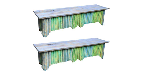 Pair of painted palm frond benches, ca. 1960, offered by Dolce