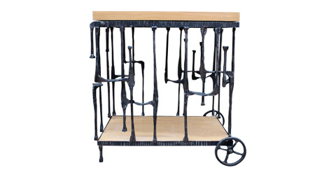 Sculptural hand-forged iron bar cart, 1970s, offered by Sputnik Modern