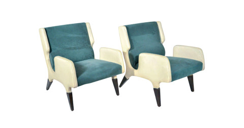 Pair of 866 armchairs by Giò Ponti for Cassina, 1964, offered by Compendio Gallery