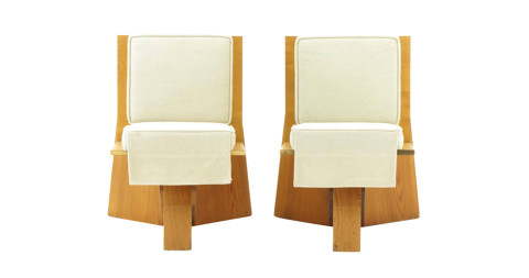 Pair of Frank Lloyd Wright Chairs from the Sondern House, ca. 1939, offered by Retro Inferno