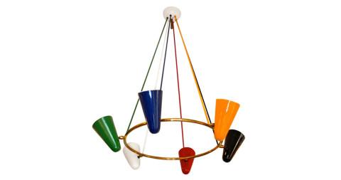 Italian hoop suspension chandelier by Stilnovo, 1950s, offered by BG Galleries