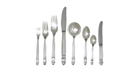 Georg Jensen Acorn flatware service for 12, offered by Drucker Antiques, Inc.