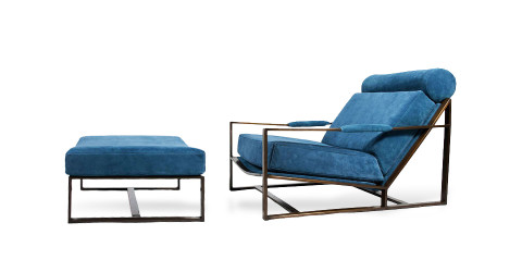 Milo Baughman low lounge and ottoman, 1967, offered by Collage 20th Century Classics