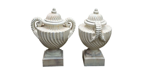 Pair of cast-iron lidded urns, 19th century, offered by Fleur