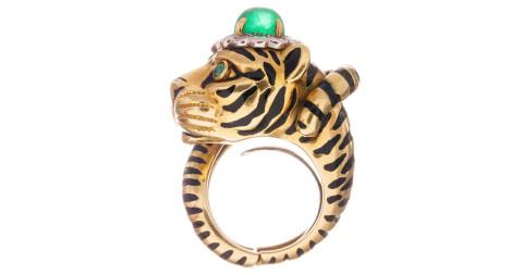 David Webb Enamel Emerald Diamond Tiger Ring, 1970s, offered by Fourtane