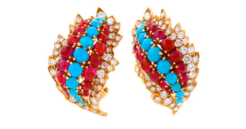 David WebbTurquoise Ruby Diamond Gold Ear Clips, 1963, offered by Macklowe Gallery