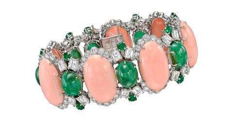 David Webb Coral Emerald Diamond Platinum Link Bracelet, 1960s, offered by Betteridge