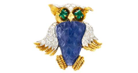David Webb Multi-Gem and Diamond Owl Brooch, 1960s, offered by FD
